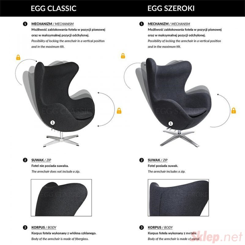 Fotel EGG CLASSIC BLACK jasny turkus.43 - wełna, podstawa czarna