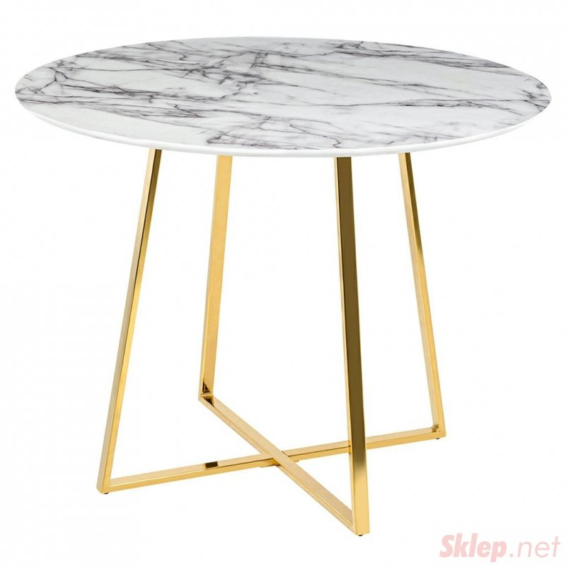 Stół CARAT 100 - MDF, złota podstawa