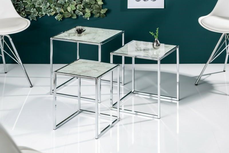 INVICTA zestaw stolików ELEMENTS 3 szkło - imitacja marmuru