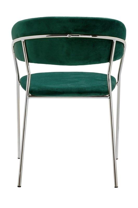 Krzesło MARGO SILVER ciemny zielony - welur, podstawa chromowana