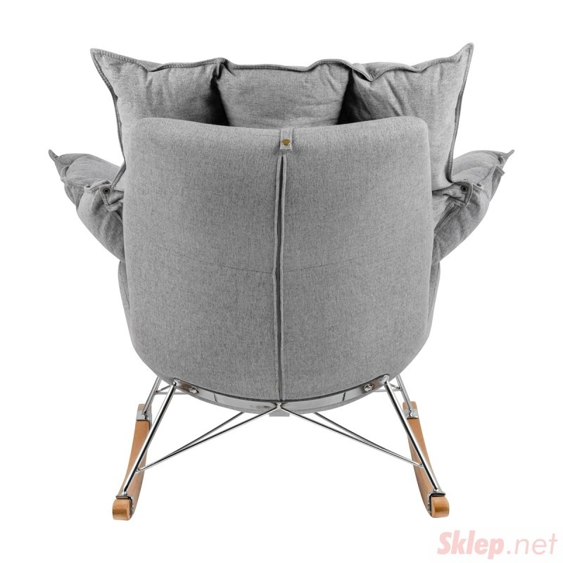 Fotel bujany SWING jasny szary - tkanina, stal, drewno bukowe