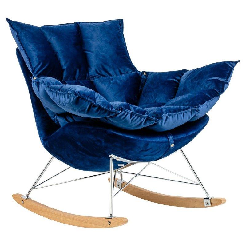Fotel bujany SWING VELVET ciemny niebieski - welur, stal chromowana, drewno bukowe
