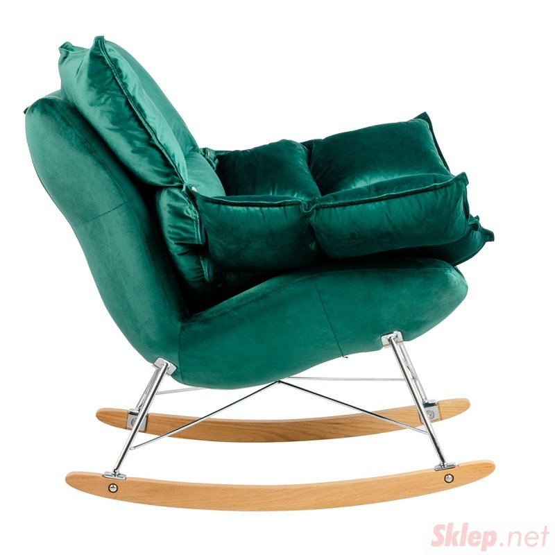 Fotel bujany SWING VELVET ciemny zielony - welur, stal chromowana, drewno bukowe