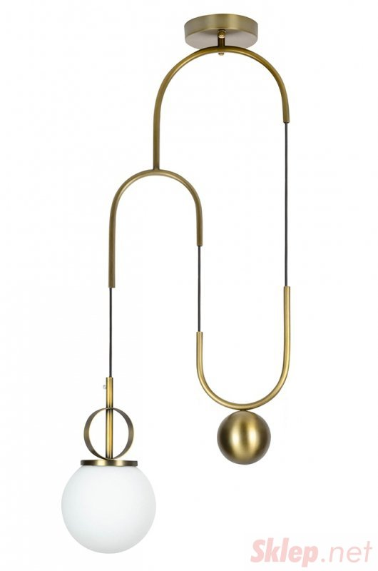 Lampa wisząca LIFT antyczny mosiądz  - metal, szkło