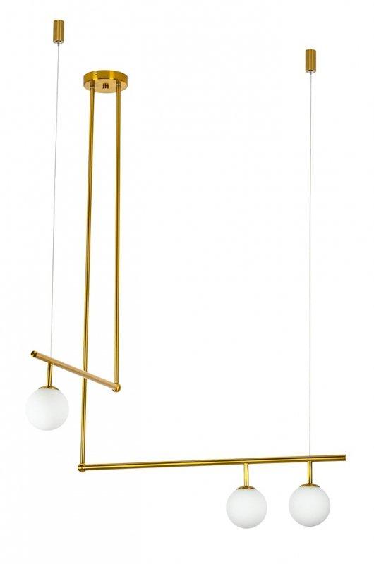 Lampa wisząca ASTRA 3 antyczny mosiądz - metal, szkło