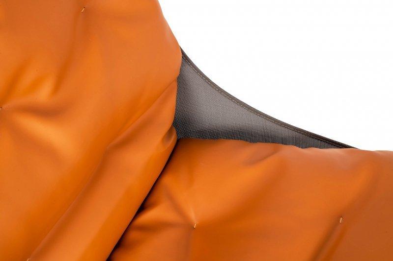Fotel ARNI LOW z podnóżkiem - pomarańczowa ekoskóra, podstawa ciemna miedziana