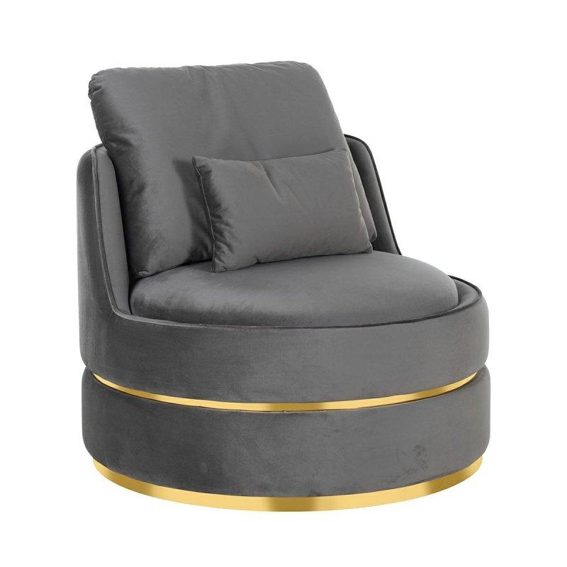 RICHMOND fotel obrotowy KYLIE STONE VELVET ciemny szary, podstawa złota