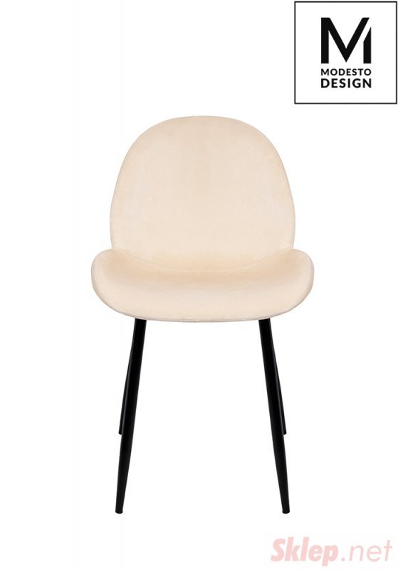 MODESTO krzesło SCOOP beżowe - welur, metal