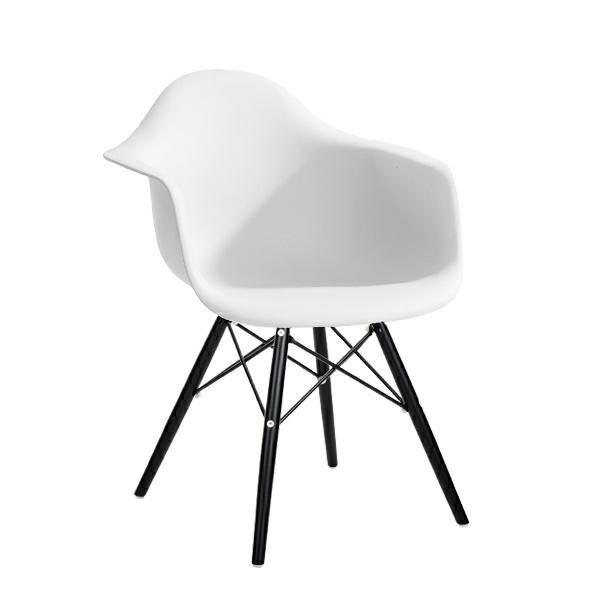Fotel DAW BLACK biały.01 - polipropylen, podstawa drewniana czarna