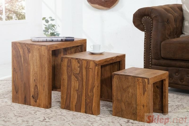 INVICTA zestaw stolików MADEIRA sheesham - lite drewno palisander
