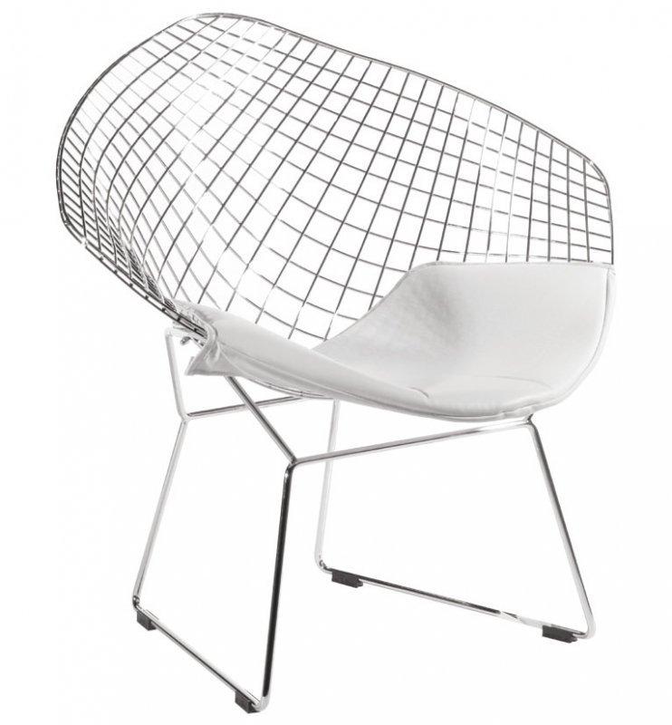 Fotel VOLIER SOFT chrom - biała poduszka