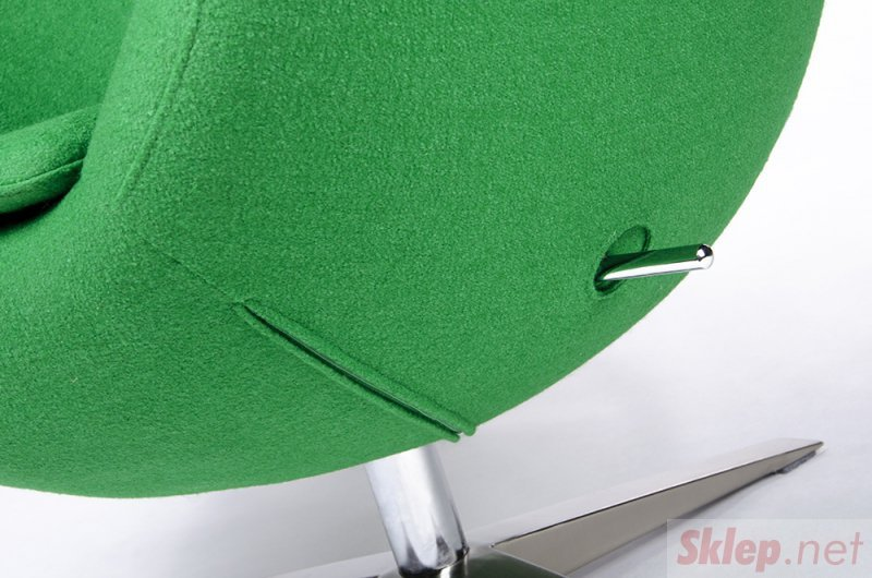 Fotel EGG SZEROKI zielony.10 - wełna, podstawa stal