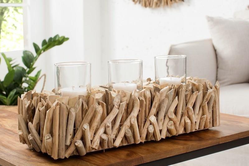 INVICTA świecznik FOSSIL - drewno, szkło