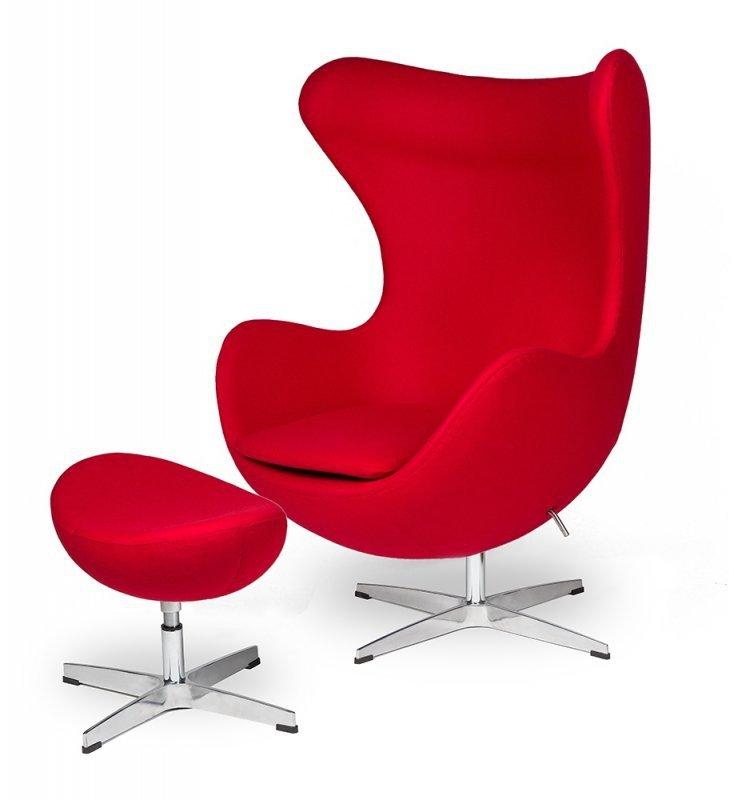 Podnóżek EGG CLASSIC czerwony.17 - wełna, podstawa aluminiowa