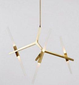 Lampa wisząca CANDELABR 6 złota - aluminium, szkło
