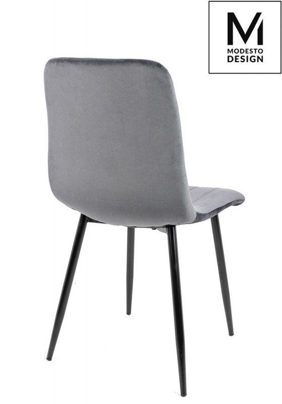 MODESTO krzesło LARA szare - welur, metal