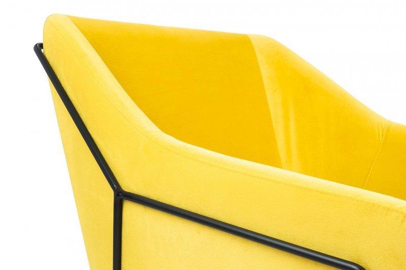 Fotel EMMA VELVET żółty welur - podstawa metal czarna