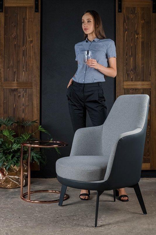 Fotel TORO szary melanż - tkanina, ekoskóra grafitowa