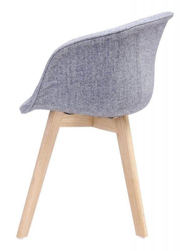 Fotel STAY SOFT szary - tkanina, podstawa dębowa