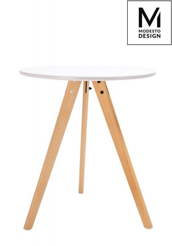 MODESTO stół TRIPOD FI 60 biały - blat MDF, nogi bukowe