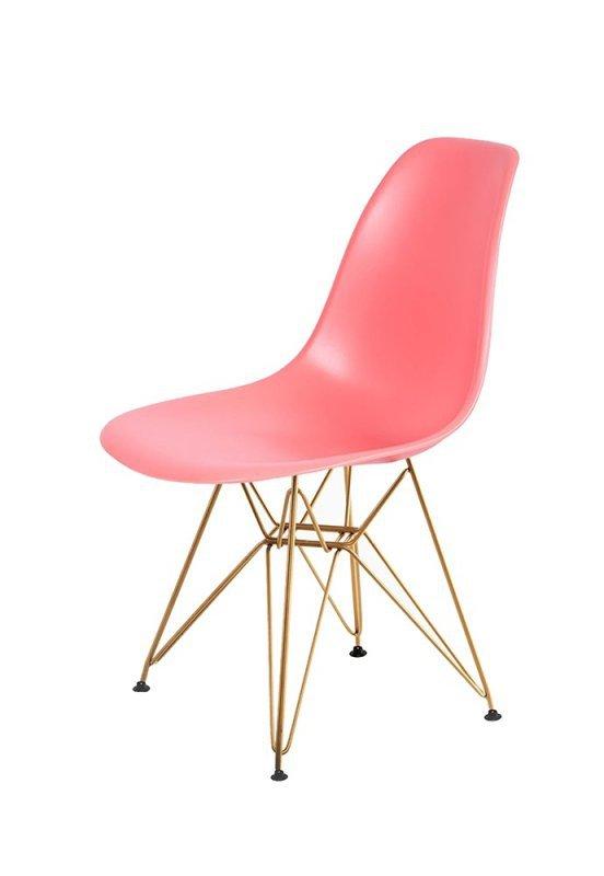 Krzesło DSR GOLD ciemna brzoskwinia.33 - podstawa metalowa złota