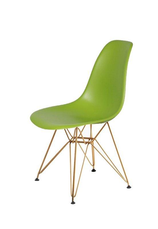 Krzesło DSR GOLD soczysta zieleń.13 - podstawa metalowa złota
