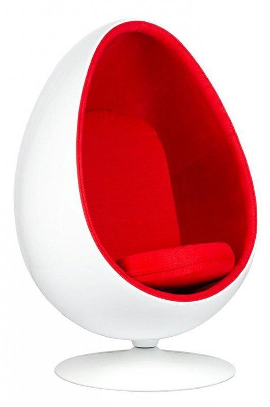 Fotel OVALIA biało-czerwony - włókno szklane, wełna