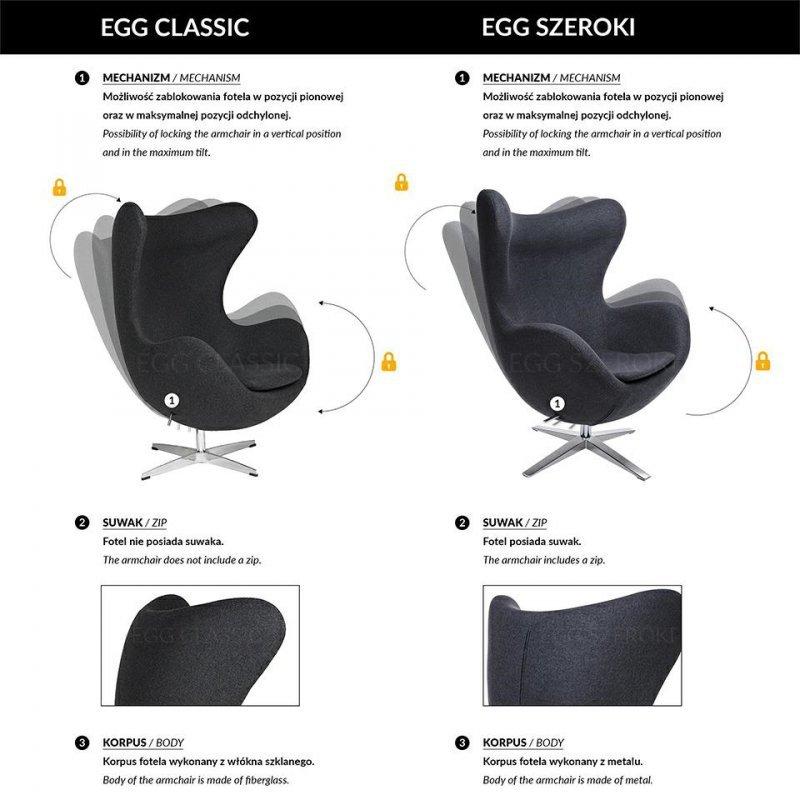 Fotel EGG SZEROKI VELVET BLACK jasny szary.37 - welur, podstawa czarna