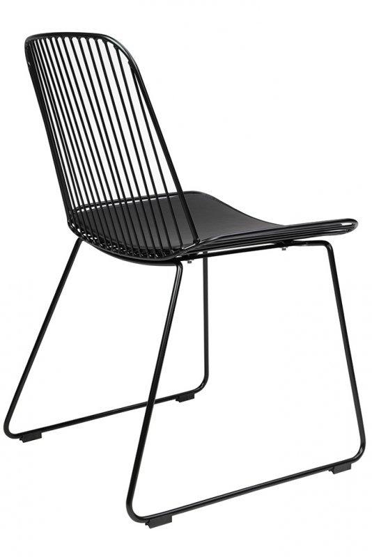 Krzesło MILES czarne - metal, ekoskóra