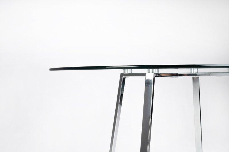 Stół CARAT GLASS 100 - MDF, srebrna podstawa