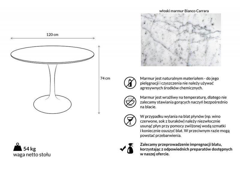 Stół TULIP MARBLE 120 CARRARA biały - blat okrągły marmurowy, metal