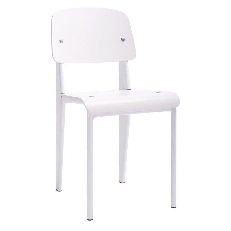 Krzesło SCHOOL białe - drewno bukowe, metal