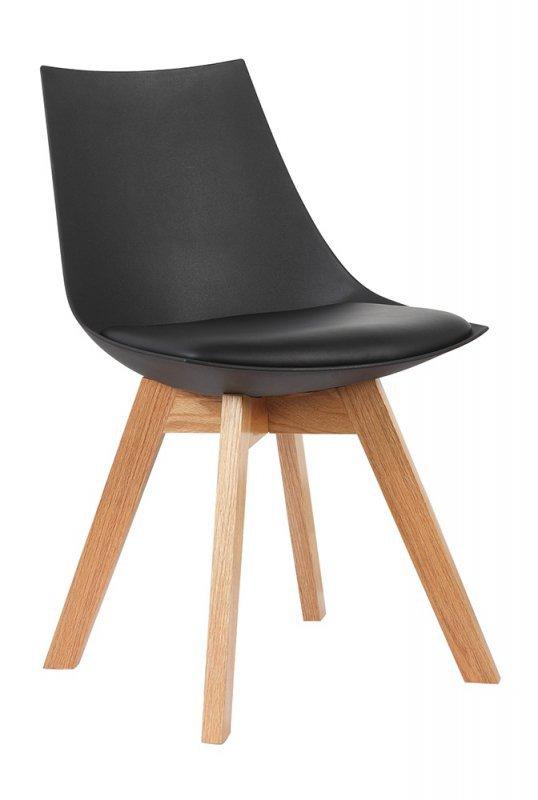 Krzesło SLIM czarne - polipropylen, ekoskóra, drewno