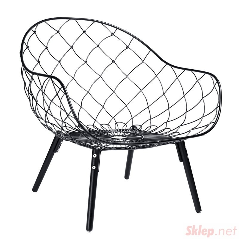 Fotel DEMON czarny - metal, tkanina, podstawa bukowa