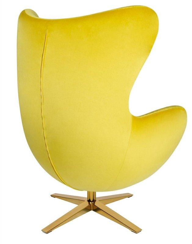 Fotel EGG SZEROKI VELVET GOLD żółty.20 - welur, podstawa złota