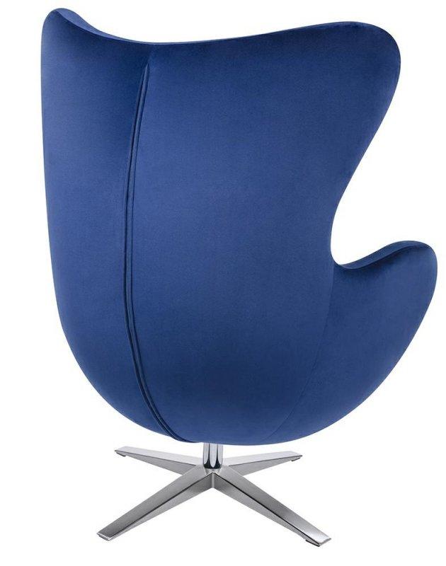 Fotel EGG SZEROKI VELVET z podnóżkiem ciemny niebieski.49 - welur, podstawa stal