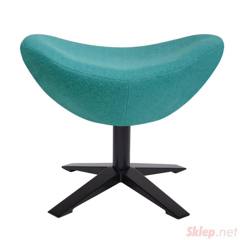 Fotel EGG SZEROKI BLACK z podnóżkiem turkusowy.12- wełna, podstawa czarna