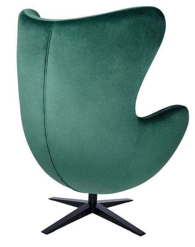 Fotel EGG SZEROKI VELVET BLACK z podnóżkiem ciemny zielony.18 - welur, podstawa czarna