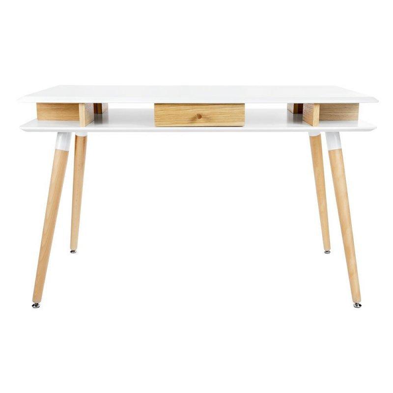 Biurko MODUS dąb - biały blat, dębowa szuflada i nogi