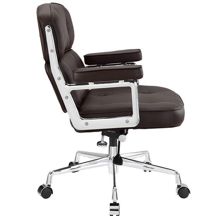 Fotel biurowy ICON PRESTIGE PLUS brązowy - włoska skóra naturalna, aluminium