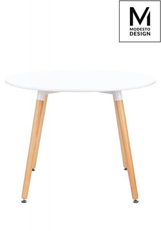 MODESTO stół LIVING FI 100 biały - blat MDF, bukowe nogi