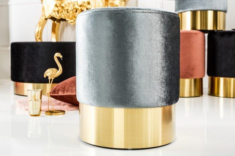 INVICTA Pufa BAROCK VELVET srebrna - złota podstawa