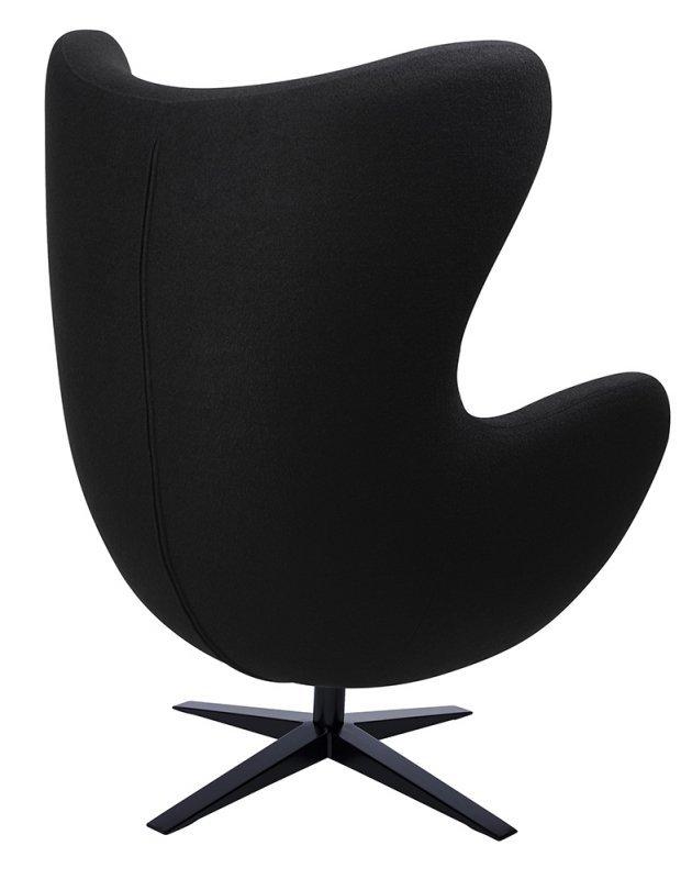 Fotel EGG SZEROKI BLACK czarny.4 - wełna, podstawa czarna