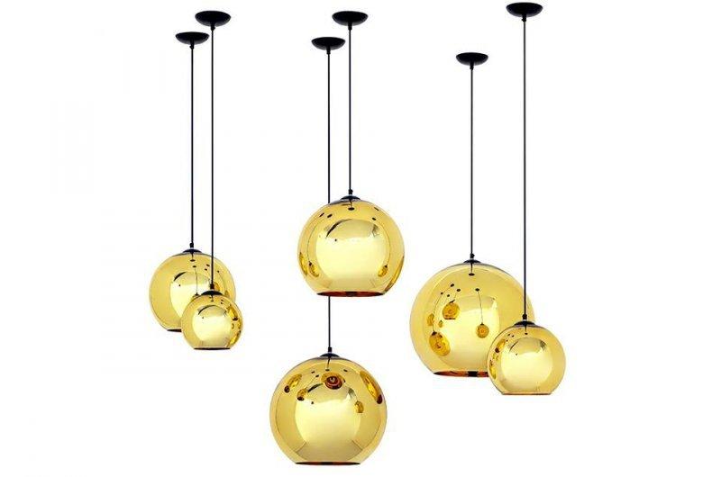 Lampa wisząca BOLLA UP GOLD 30 złota - szkło metalizowane