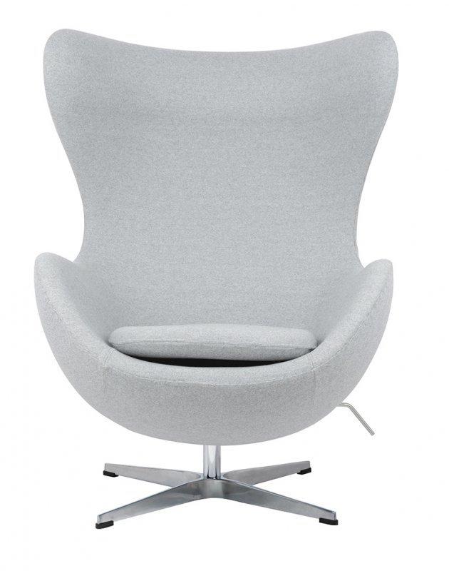 Fotel EGG CLASSIC szary melanż.17 - wełna, podstawa aluminiowa
