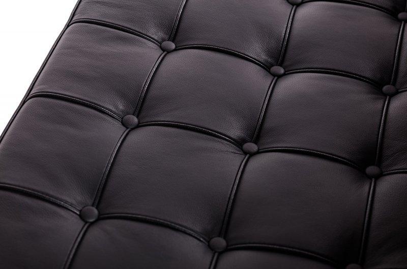 Fotel BARCELON czarny - włoska skóra naturalna, stal polerowana
