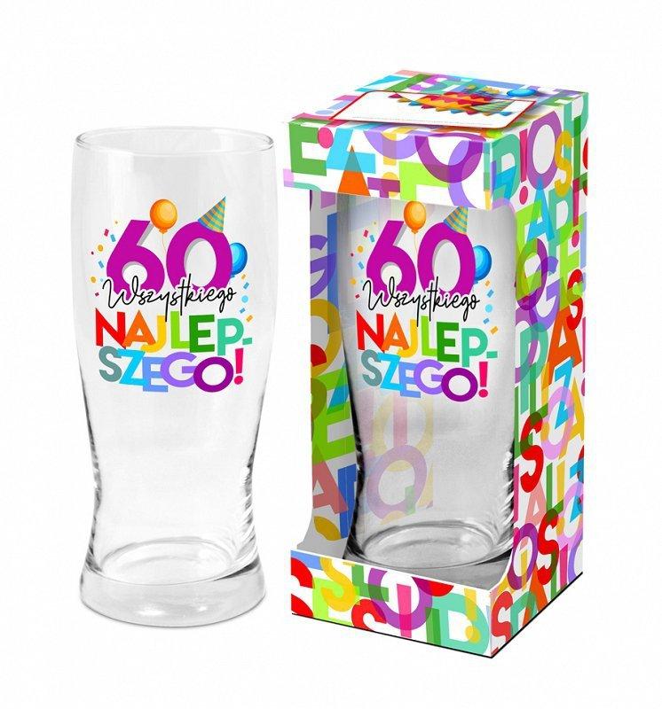 Urodzinowe Literki - szklanka do piwa 500ml. 60-tka