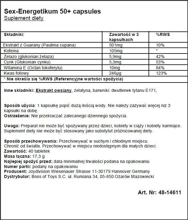 Supl.diety-EROpharm - Sex-Energetikum 50+ 40 capsules