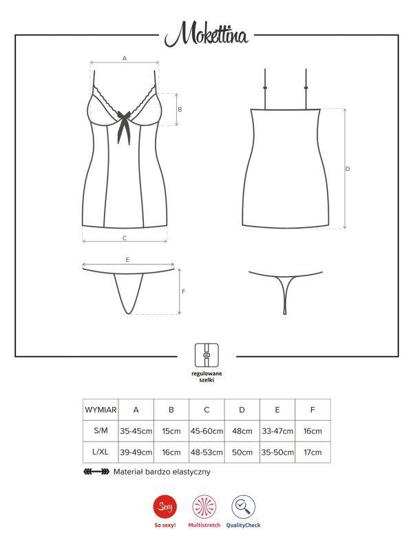 Bielizna-Mokettina koszulka i stringi  S/M