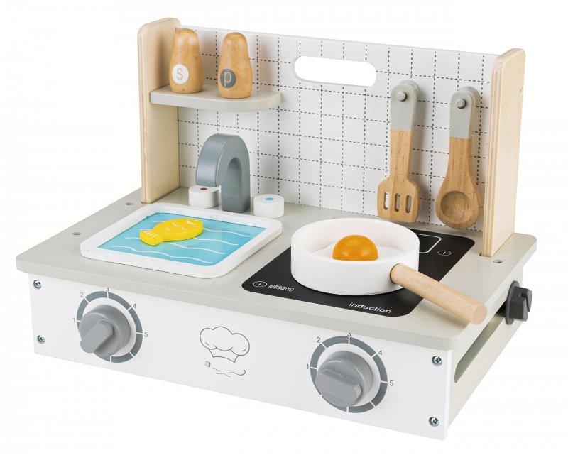 Drewniana kuchenka z akcesoriami mini kuchnia